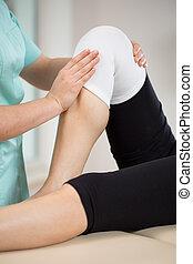 膝, 傷害, 患者, 後で