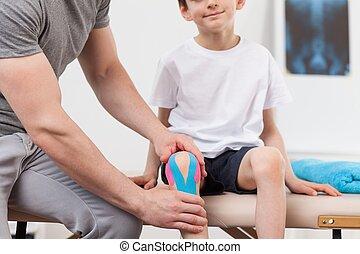 膝, kinesiology, テープ