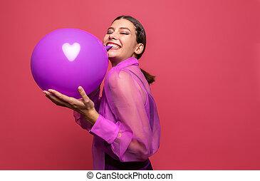 膨らむ, 紫色, balloon, 女の子
