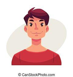 臉, 年輕, 中立, 面部的表達, 人