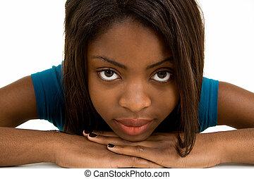 臉, 特寫鏡頭, ......的, a, 美麗, 非洲裔美國人女士