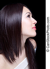 臉, ......的, 美麗, 性感, 年輕, 黑發淺黑膚色女子, 婦女