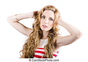 臉, ......的, a, 婦女, 穿, 顏色, 構成, 上, 嘴唇