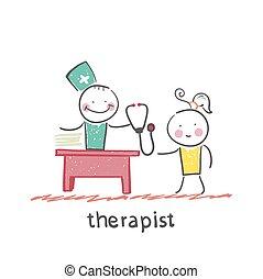 臨床醫學家, 正在工作, 的談話, a, 病人