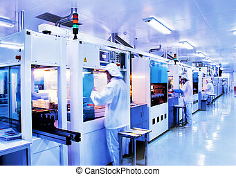 自動化された, 流れ作業, 中に, 現代, 太陽, ケイ素, 工場
