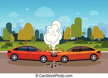 自動車事故, 道, 現場, 危険, 概念