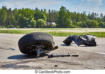 自動車事故, 道, 部分, 後で