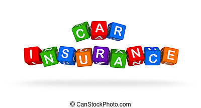 自動車保険, カラフルである, 印。, 多色刷り, おもちゃ, blocks.