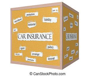 自動車保険, 3d, 立方体, corkboard, 単語, 概念