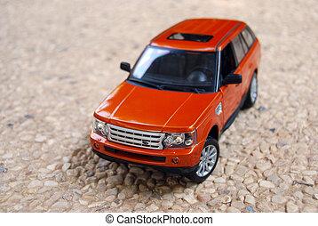 自動車, おもちゃ, 道, 玉石