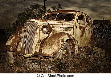 自動車, さびた, 古い
