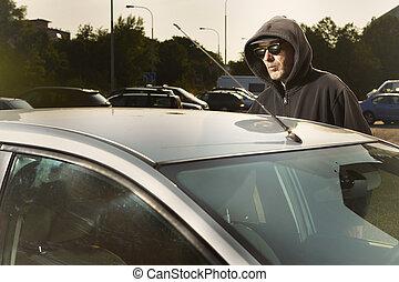 自動車, つらい, 盗みをはたらきなさい, 場所, 公衆, 人, 公園