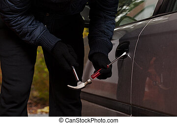 自動車, つらい, 開いた, 泥棒