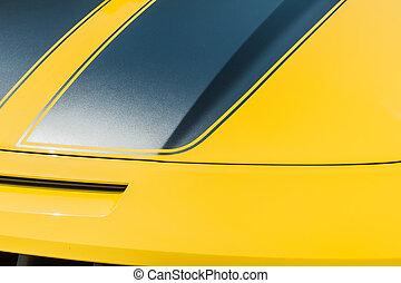自動車, の上, 黄色, 終わり, スポーツ, フード