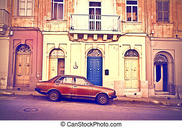自動車, の前, 家