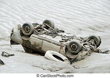 自動車, ひっくり返された, 川