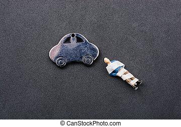自動車, わずかしか, モデル, 背景, 暗い, 金属