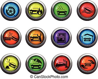 自動車, アイコン, セット, 保険