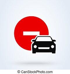 自動車, アイコン, ベクトル, デザイン, 単純である, 印, いいえ, illustration., 現代