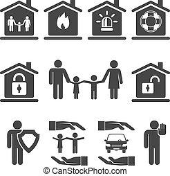 自動車, アイコン, 家 家族, 保険, デザイン