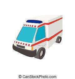 自動車, アイコン, 救急車, 漫画