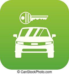 自動車, アイコン, 緑のキー, デジタル