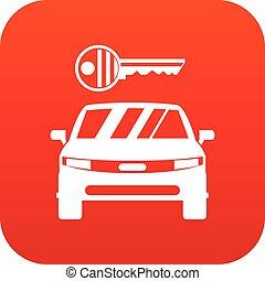 自動車, アイコン, 赤, キー, デジタル