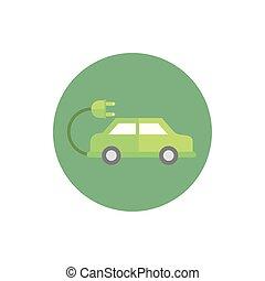 自動車, アイコン, 電気である, ブロック, 緑, エネルギー, プラグ