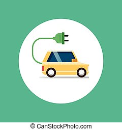 自動車, アイコン, 電気である, 平ら