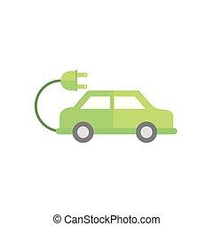 自動車, アイコン, 電気である, 緑, エネルギー, プラグ