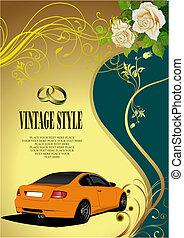 自動車, イメージ, 結婚式の招待