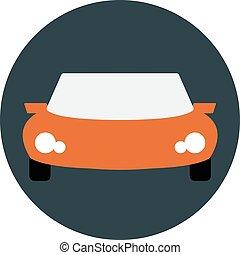 自動車, イラスト, スポーツ, オレンジ, ベクトル, 正面図