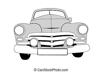自動車, イラスト, 背景, ベクトル, レトロ, 白