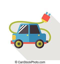自動車, エネルギー, 平ら, アイコン