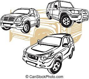 自動車, オフロード, ベクトル, -, set.