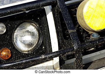 自動車, オフロード, 汚い, サファリ, 細部