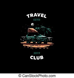 自動車, オフロード, 浜, 立つ, 夜