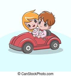 自動車, カップル, 幸せ, 乗馬, かわいい, 赤, 結婚式