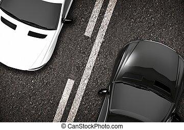 自動車, クローズアップ, 道