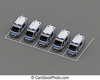 自動車, グループ, 警察, 駐車