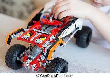 自動車, コンストラクター, プレーする, collects, 男の子