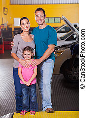 自動車, サービス, 中心, 家族, 幸せ
