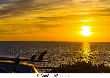 自動車, サーフボード, 海