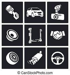 自動車, セット, サービス, アイコン