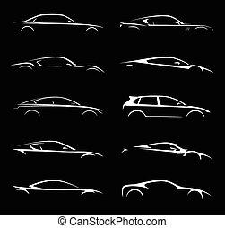 自動車, セット, シルエット, コレクション, 極度