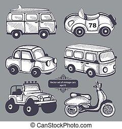 自動車, セット, レトロ, アイコン