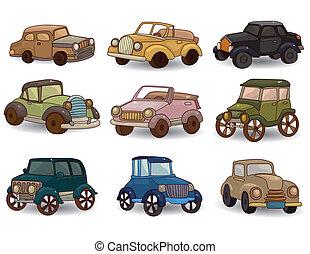 自動車, セット, レトロ, 漫画, アイコン