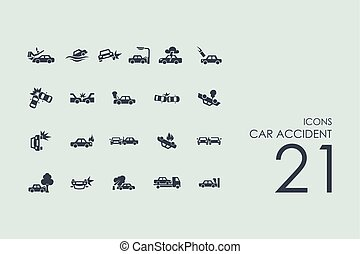 自動車, セット, 事故, アイコン