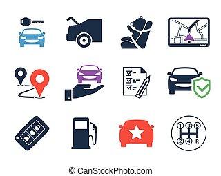 自動車, セット, 使用料, アイコン