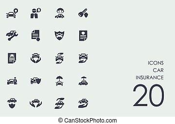 自動車, セット, 保険, アイコン